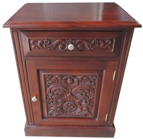 Bedside with Carved Front in Mahogany